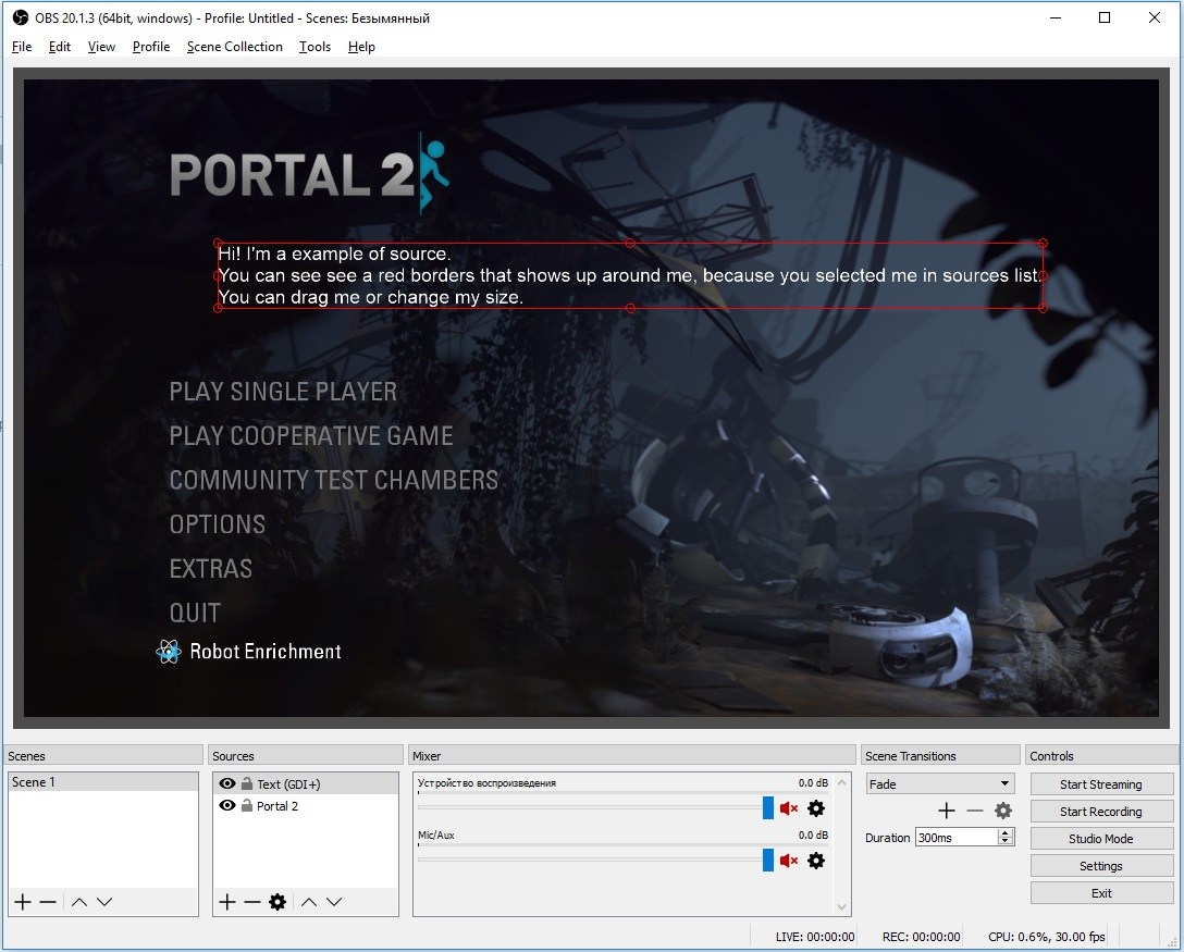 example of source in obs studio