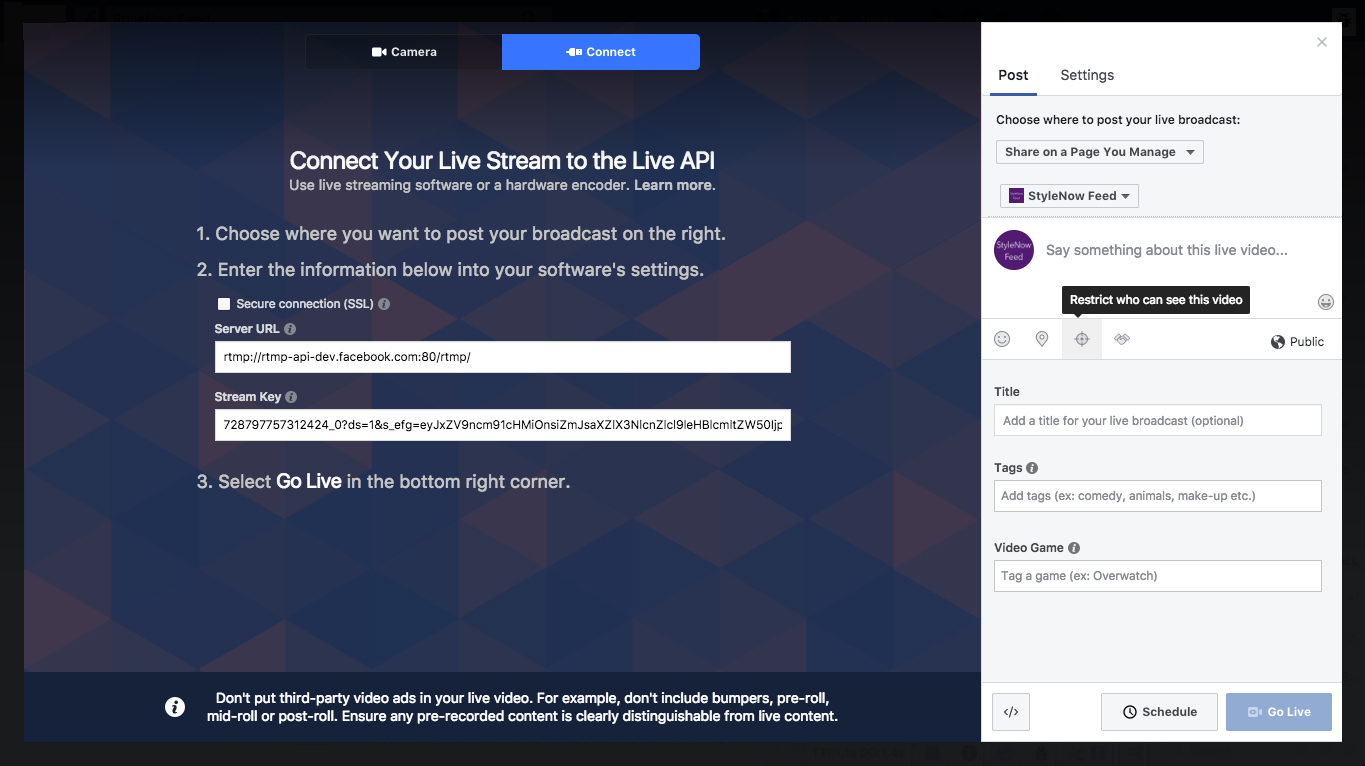 How to stream live on facebook with OBS Studio